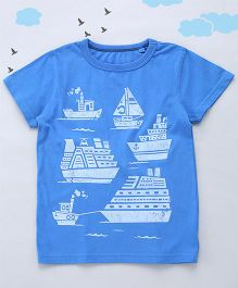 Sequences Ship Print Tee - Blue