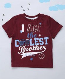 Sequences I Am The Coolest Brother Print Tee - Brown
