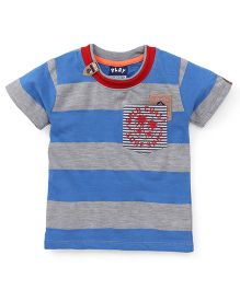 Play by Little Kangaroos Half Sleeves Striped T-Shirt With Patch - Blue & Grey