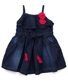 Play By Little Kangaroos Singlet Denim Frock Floral Appliques - Dark Blue