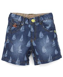 Play By Little Kangaroos Shorts Boat Print - Blue White