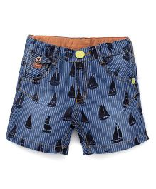 Play By Little Kangaroos Shorts Boat Print - Blue Black