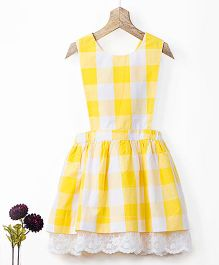 Pluie Gingham Checks Pinafore With Lace Hem Dress - Yellow & White
