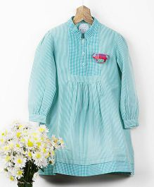 Pluie Checks And Stripe Shirt Dress With Fabric Brooch - Mint Blue