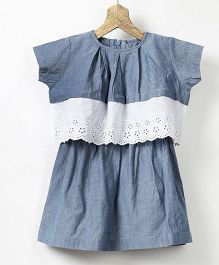 Pluie Chambray Dress With Lace Hem Pleated Crop Top In Cotton - Blue