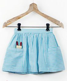Pluie Stripe Skirt With Big Pockets And Fabric Brooch - Mint