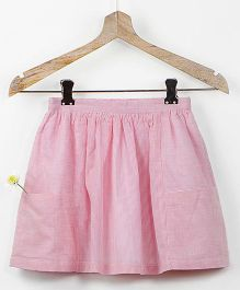 Pluie Pinstripe Skirt With Big Pockets And Fabric Brooch - Pink