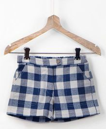 Pluie Gingham Checks Adjustable Waist Shorts With Pockets - Blue