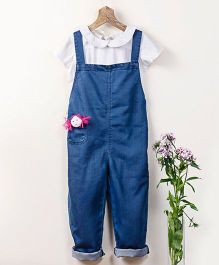 Pluie Denim Washed Unisex Dungaree With Fabric Brooch - Indigo