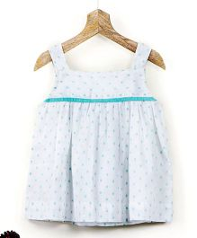 Pluie Cotton Dobby Cami Top With Back Bow Detail - White & Mint