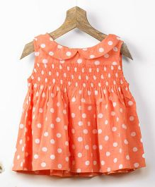 Pluie Polka Dot Cotton Smock Top With Back Buttons - Coral