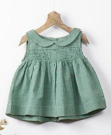 Pluie Gingham Smock Top With Back Buttons - Green