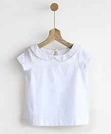 Pluie Peter Pan Top With Back Tie - White
