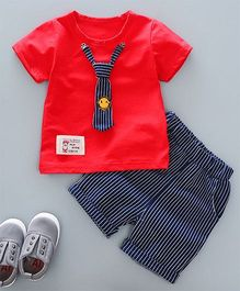 Pre Order - Dells World Smiley Print Stripped Tie Attached Shirt And Pant Set - Red & Blue