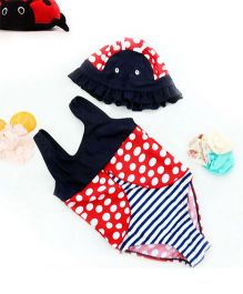 Epice Polka & Stripe Bumble Bee Swimwear - Red Black And White