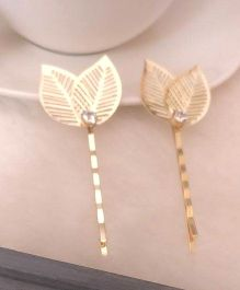 Treasure Trove Leaf Embellished Hair Pin - Golden