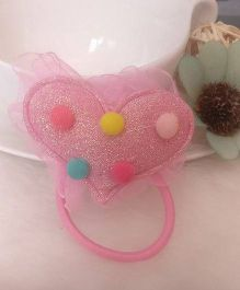 Treasure Trove Heart Studded Pony Tail Holder - Baby Pink