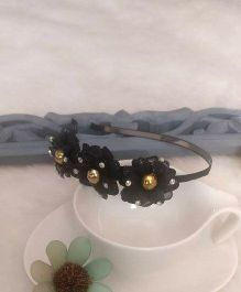 Treasure Trove Flower Studded Hair Band - Black