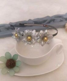 Treasure Trove Flower Studded Hair Band - Silver