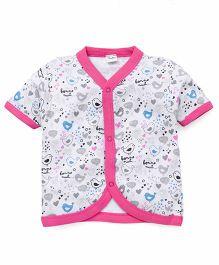 Playbeez Bonne Nuit Print Vest - White & Pink