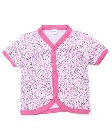 Playbeez Floral Print Vest - Pink & White