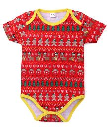 Playbeez Gingerbread With Border Bodysuit - Red