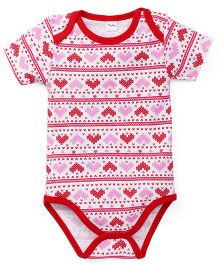 Playbeez Heart Print Onesie - Pink & Red