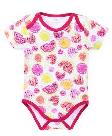 Playbeez Fruit Print Onesie - White & Pink