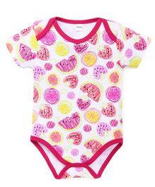 Playbeez Fruit Print Onesie - White & Pink