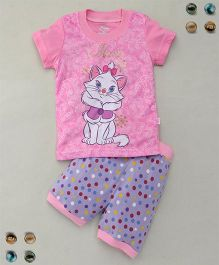 Adores Cat Printed Tee With Polka Dot Shorts Sleepsuit - Pink