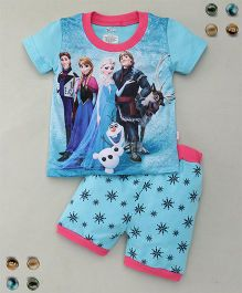Adores Princess Printed Tee With Shorts Sleepsuit - Blue