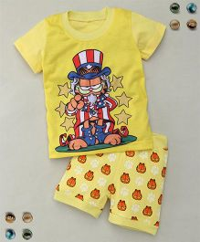 Adores Cartoon Printed Tee With Shorts Sleepsuit - Yellow