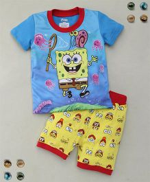 Adores Cartoon Printed Tee With Shorts Sleepsuit - Blue