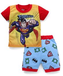 Adores Superhero Printed Tee With Shorts - Red
