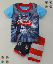 Adores Super Hero Printed Tee With Shorts Sleepsuit - Blue