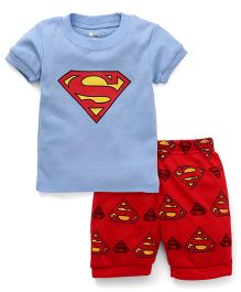 Adores Superhero Printed Tee With Shorts - Blue