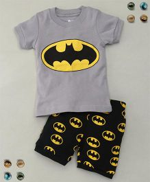 Adores Bat Printed Tee With Shorts Sleepsuit - Grey