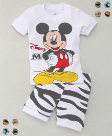 Adores Cartoon Printed Tee With Shorts Sleepsuit - White