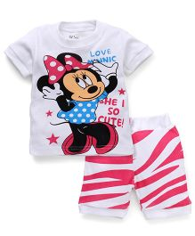 Adores Cartoon Printed Tee With Shorts - White