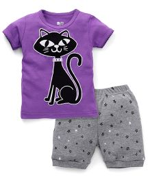 Adores Cat Printed Tee With Polka Dot Shorts - Purple