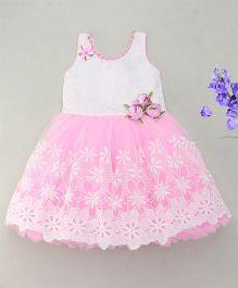 Enfance Sparkling Rose & Pearls Attached Flower Cut Dress - Pink