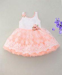 Enfance Sparkling Rose & Pearls Attached Flower Cut Dress - Peach