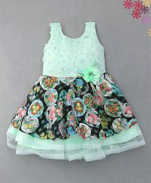 Enfance Stunning Netted Dress With Attached Flowers & Broaches - Green