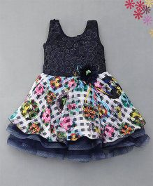 Enfance Stunning Netted Dress With Attached Flowers & Broaches - Navy Blue