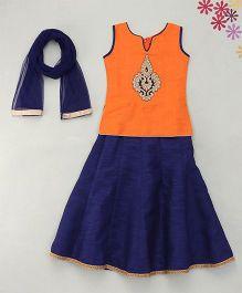 Enfance Hand Worked Ghaghra Choli Dupatta Set. - Orange & Blue