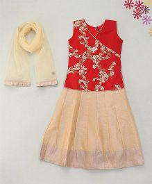 Enfance Zari Embroidered Choli Ghagra & Dupatta Set - Pink & Gold