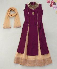 Enfance Indo Western Long Top & Lehenga - Purple & Gold