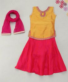 Enfance Eyeconic Embroidery With Diamond Ghaghra-Choli & Dupatta Set - Yellow & Pink