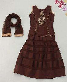 Enfance Embroidery With Stiching A-Line Choli Lehnga Set With Dupatta - Brown