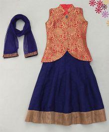 Enfance Solid Anchor Choli Ghagra Set With Dupatta - Pink & Blue